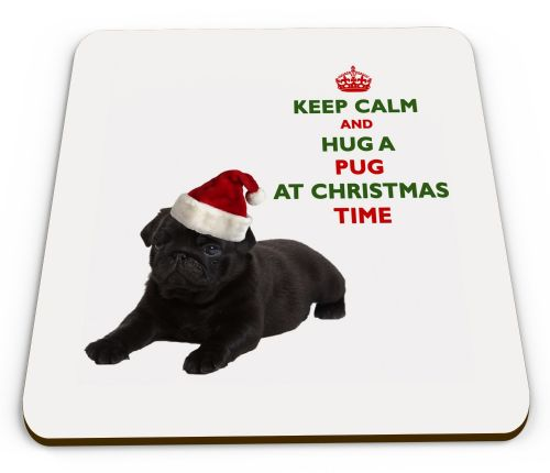 Christmas Keep Calm And Hug A Pug (Black) Novelty Glossy Mug Coaster